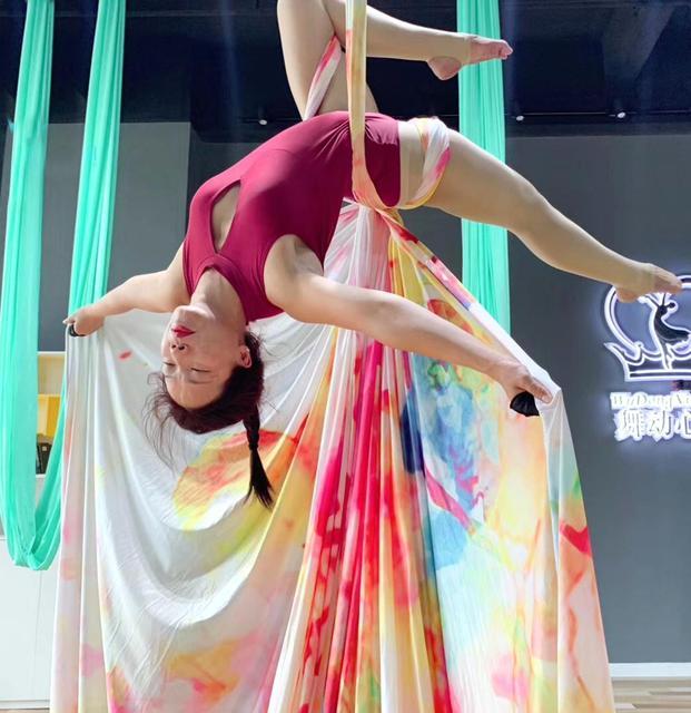 2020 12 metre 11M hava ipek seti yüksek kaliteli Gradational renk hava Yoga anti-yerçekimi Yoga eğitimi için yoga spor