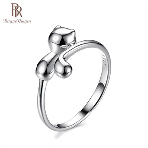 Image 5 - Bague Ringen 100% אמיתי 925 כסף סטרלינג טבעת בעלי החיים חתול צורת כסף טבעת חמוד יפה ליידי תכשיטי להיכרויות