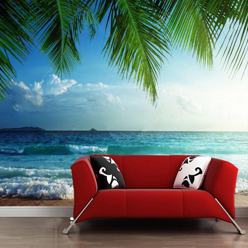 Custom Papel De Parede 3d, Sunset On The Beach Murals For Living Room Bedroom Background Home Decoration Waterproof Wallpaper