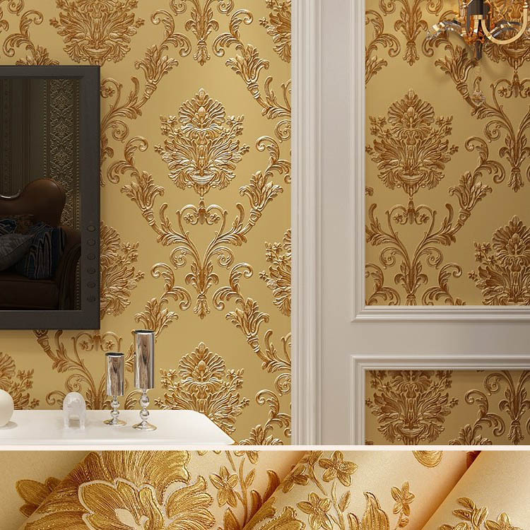 European Style Classic Carving Decorative Pattern Living Room Wall Wallpaper Fine Embossing 3D Bump Damascus Bedroom Wallpaper