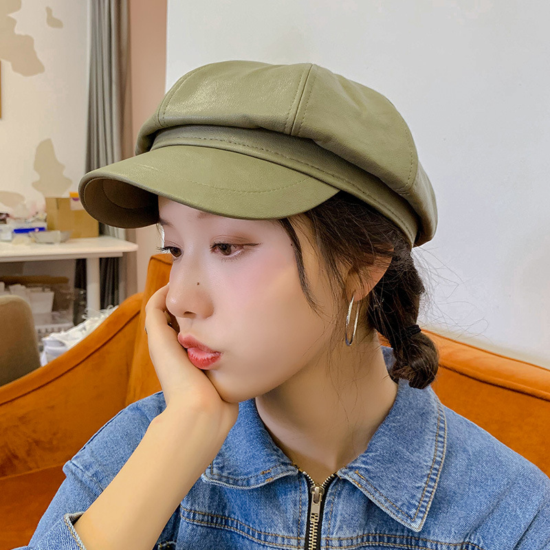 Winter Octagonal Cap Girls Beret Hats For Women Green Color Newsboy Hats Female British Style PU Leather Berets Hat Keep Warm