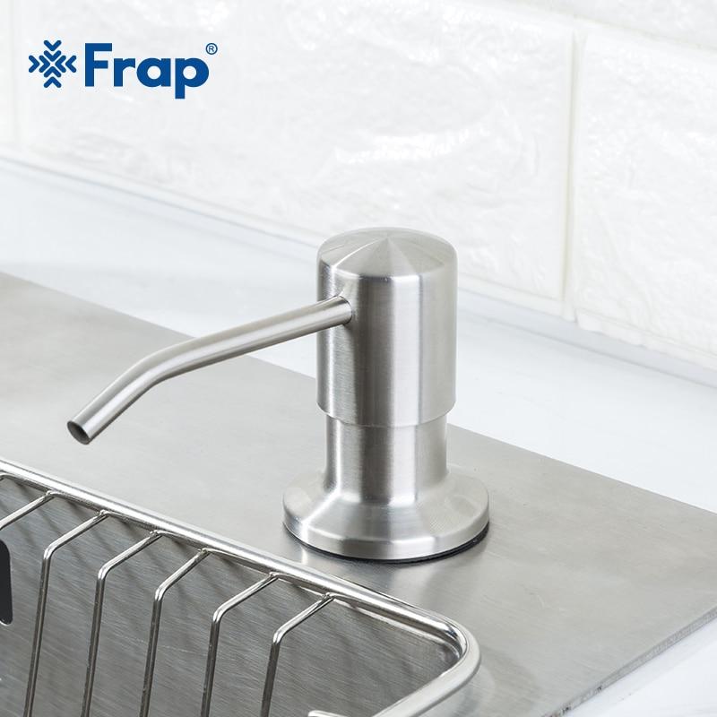 Frap Stainless Steel 500ml Kitchen Hand Sanitizer Sink Liquid Soap Detergent Dispenser Pump Storage Holder PE Bottle Y35014