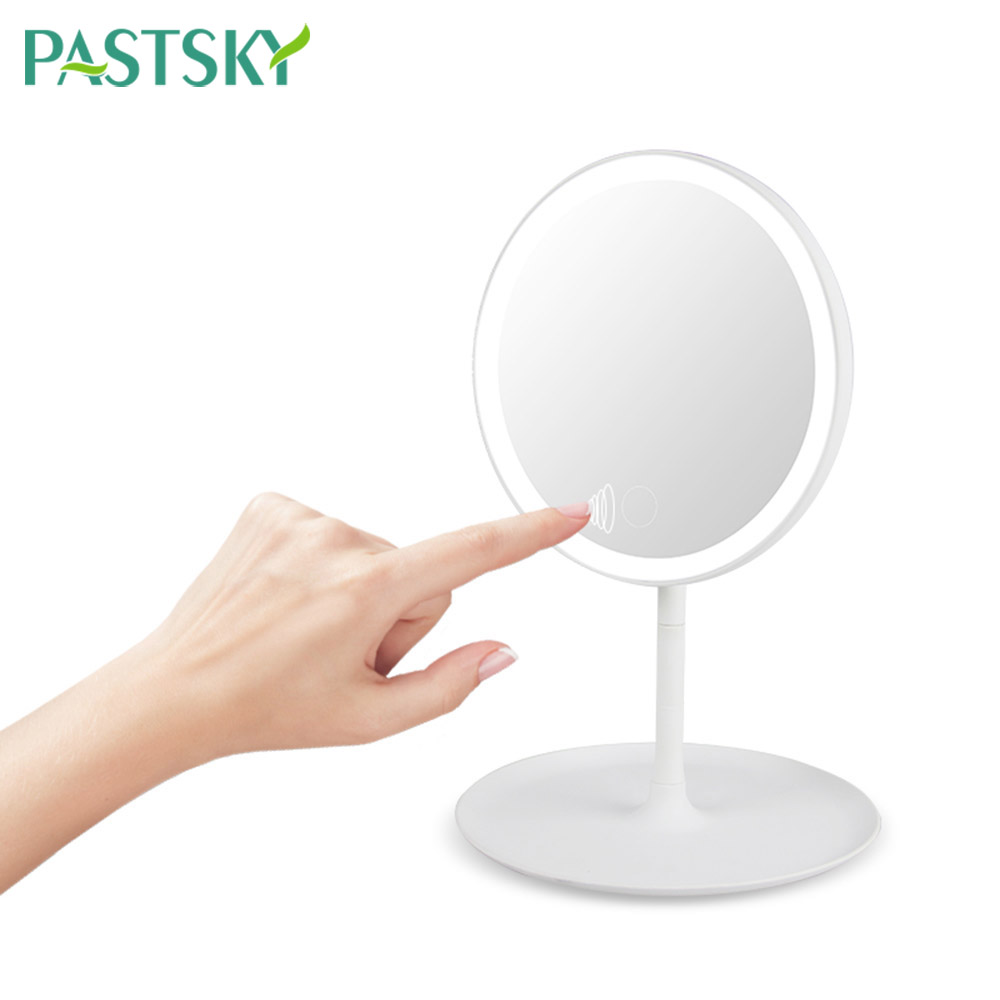 USB LED Touch Screen Makeup Mirror Vanity Light Portable <font><b>90</b></font> Degree Adjustable Rotation Tabletop Table Lamp Home Travel image