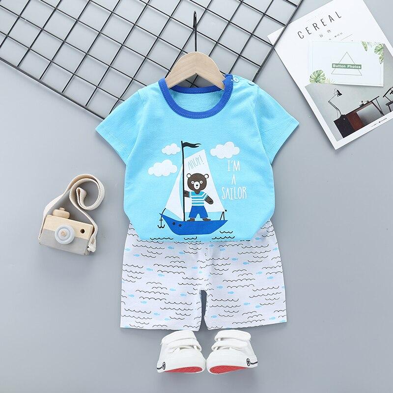 New Boys Outfits 9M-6T Girls Clothes Children's Clothing Suits Top Cotton Pants Suit 2pcs Clothing Sets Kids Clothes 9M24M3T5T6T