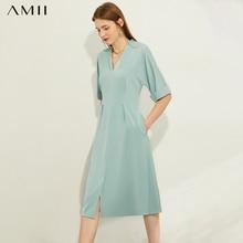 AMII Minimalism Spring Summer Olstyle Causal Solid Women Dress Fashion Solid Vne