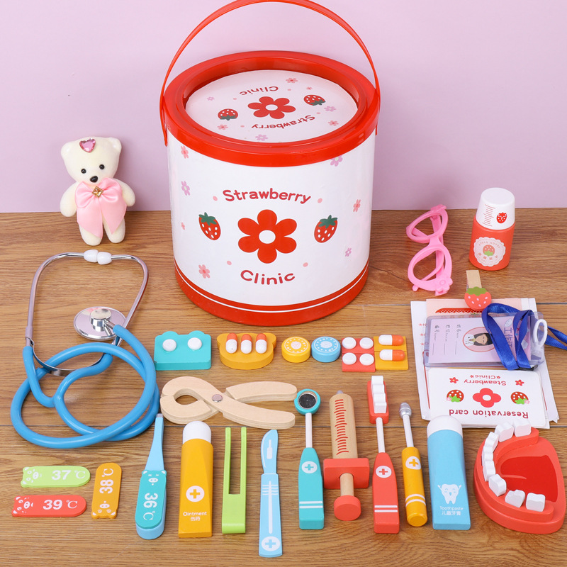 Wooden Children's Doctor Toy Set Boys And Girls Simulation Family Doctor Toolkit Simulation Medical Tools Educational Role Play