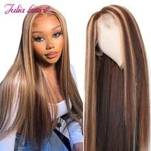 Perruque Lace Front Wig brésilienne naturelle – Julia, cheveux lisses, ombré, 13x4, pre-plucked, avec Baby Hair, à reflets