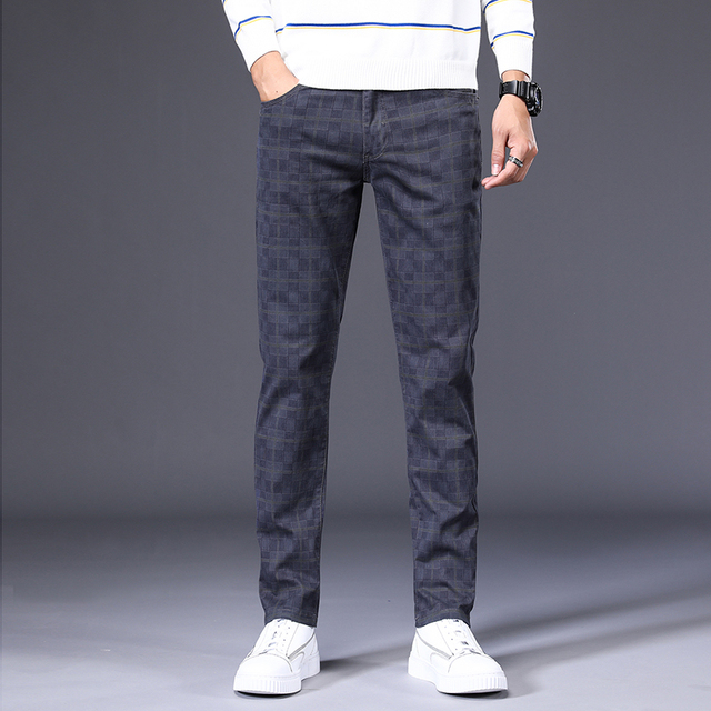 Men's slim plaid casual pants 2020 autumn brand clothing high-quality cotton stretch youth fashion fit trousers large size 28-42