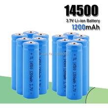 Pilhas recarregáveis aa 14500 1200mah, pilhas de íon de lítio e lanterna led, entrega gratuita
