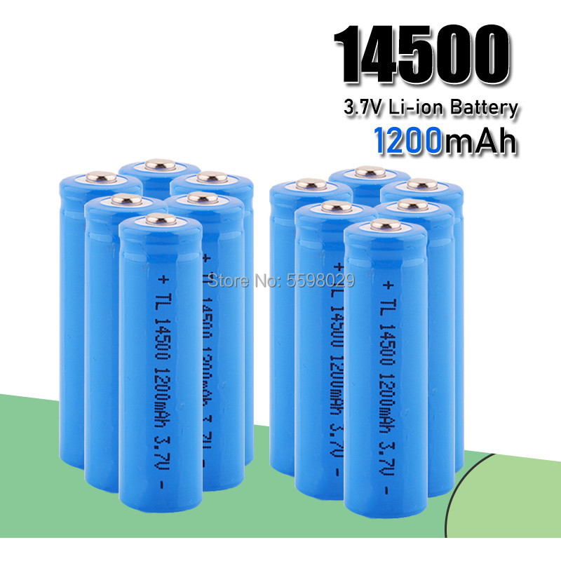 AA <font><b>14500</b></font> 1200mah 3.7 V lithium <font><b>ion</b></font> rechargeable <font><b>Li</b></font>-<font><b>ion</b></font> Battery batteries and LED flashlight, free delivery image
