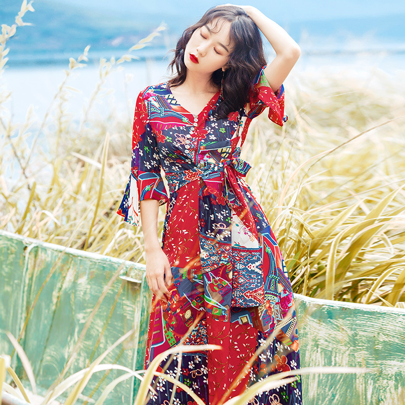 2018 Dress Women's Summer Mid-length Chiffon Slimming Bali New Style V-neck Seaside Holiday Skirt A Beach Skirt