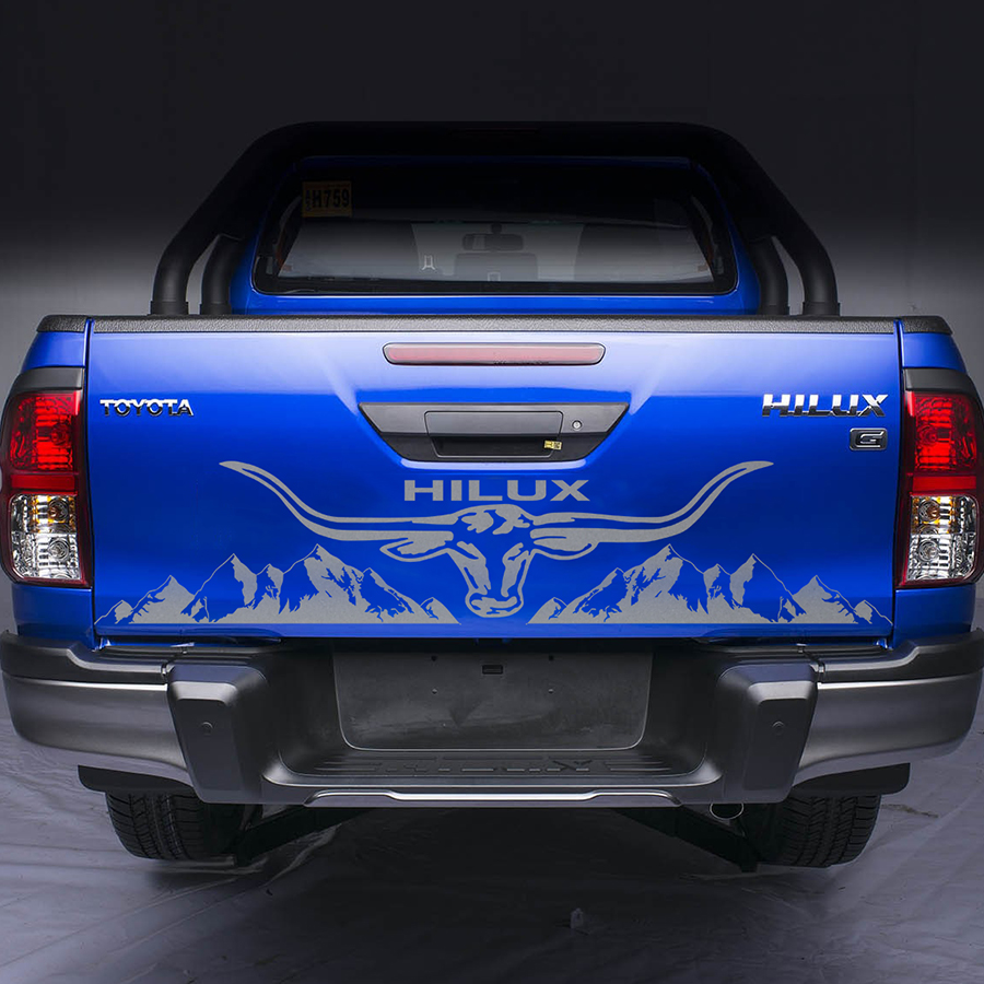 Car Accessories Bull Head Mountain On Pickup Bafflecar Decal Bezel Vinyl Car Wrap Number Decals Sticker On Car For Toyota HILUX
