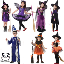 Halloween Kids Girls Cosplay Costume Party Old Witch Suit Fancy Dress Outfit Set Masquerade Cosplay Child Show Costume for Girls цена