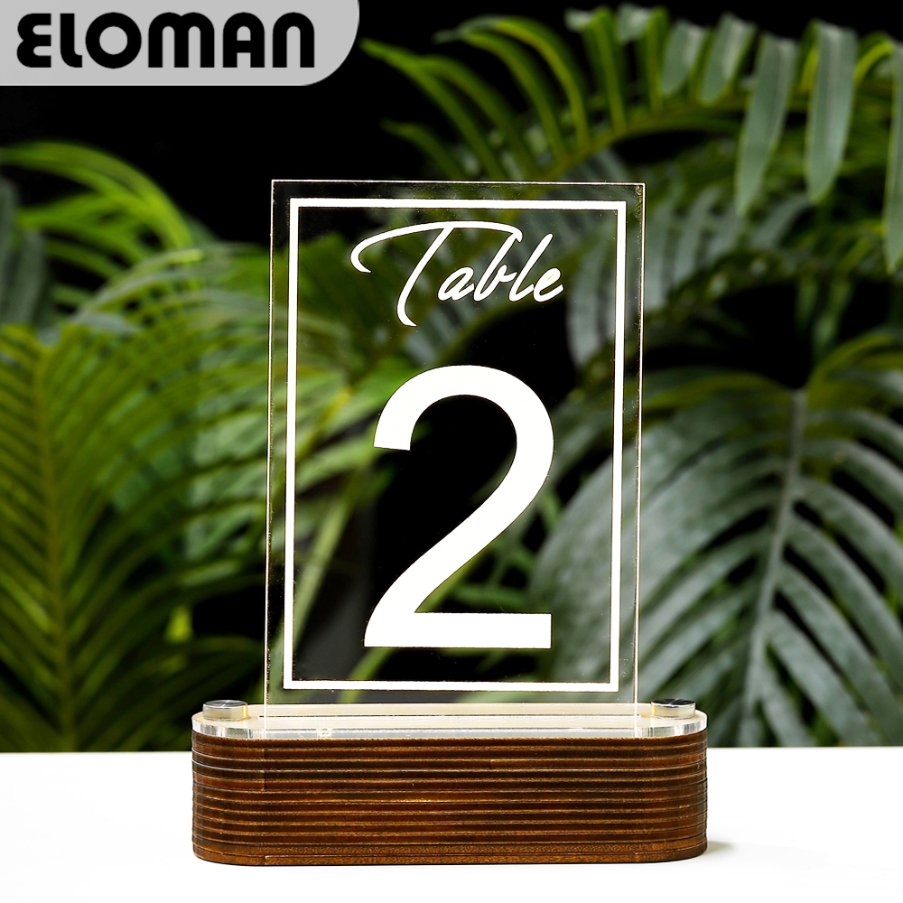 Handmade LED wedding table number ELOMAN clear acrylic table numbers for village wedding event party table decoration