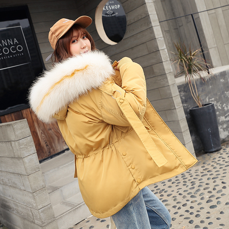Cotton-padded Clothes Short 2019 Winter New Style Hooded Cotton-padded Jacket Korean-style Fur Collar Large Size Punk Clothing C