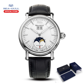 2020 New Products Seagull Men's Watch Moon Phase Multifunctional Automatic Mechanical Leather Bracelet M308S - discount item  40% OFF Men's Watches