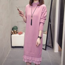 2019 Autumn Women Mandarin Collar Sweater Dress Casual Knitting Tunic Basic Warm Long Sleeve