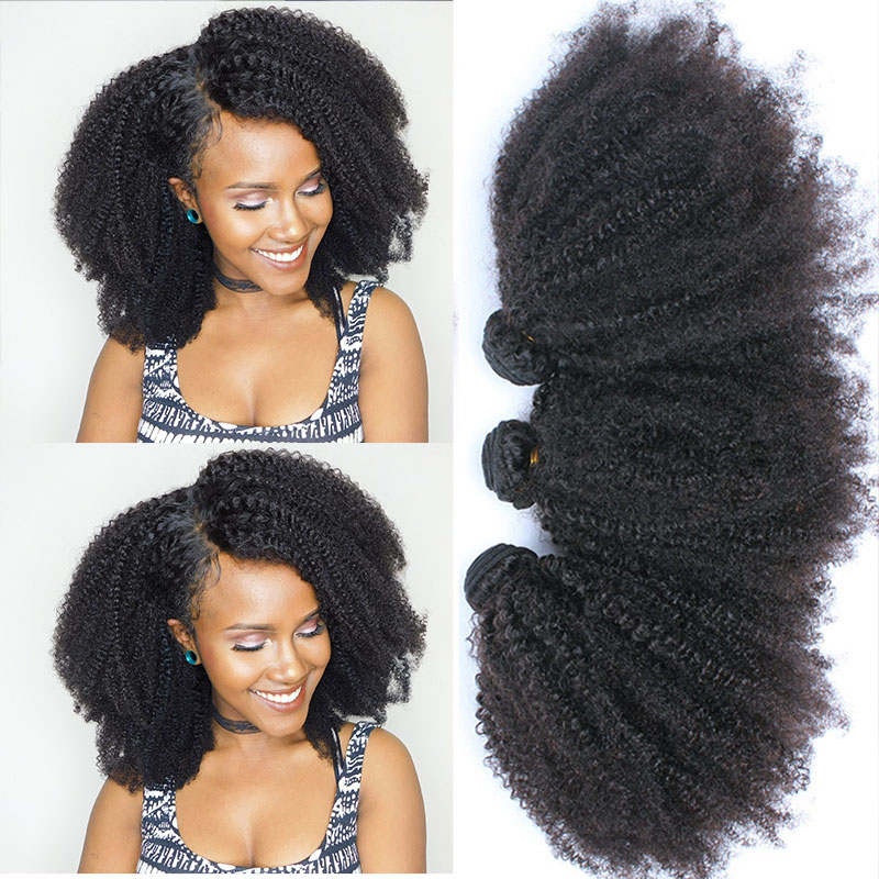 Curly Bundles Extensions Closure Weave Virgin-Hair Afro Kinky Human Mongolian Everbeauty