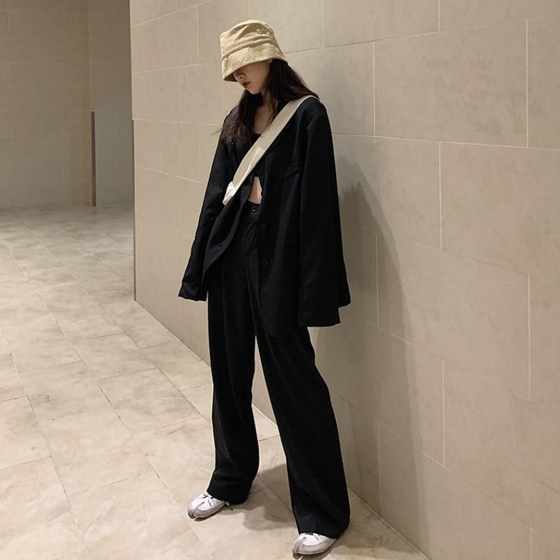 2020 Spring Black Suit Female Oversize Long Blazer Jacket+Button Casual Wide Leg Trousers Women High Street 2 Piece Pant Set