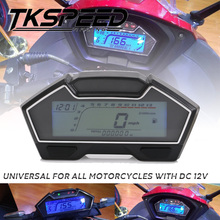 цена на Universal 2,4 cylinder LCD Motorcycle Racing Street Bike Speedometer Odometer RPM Speed Fuel Gauge 13000RPM DIY Speedometer