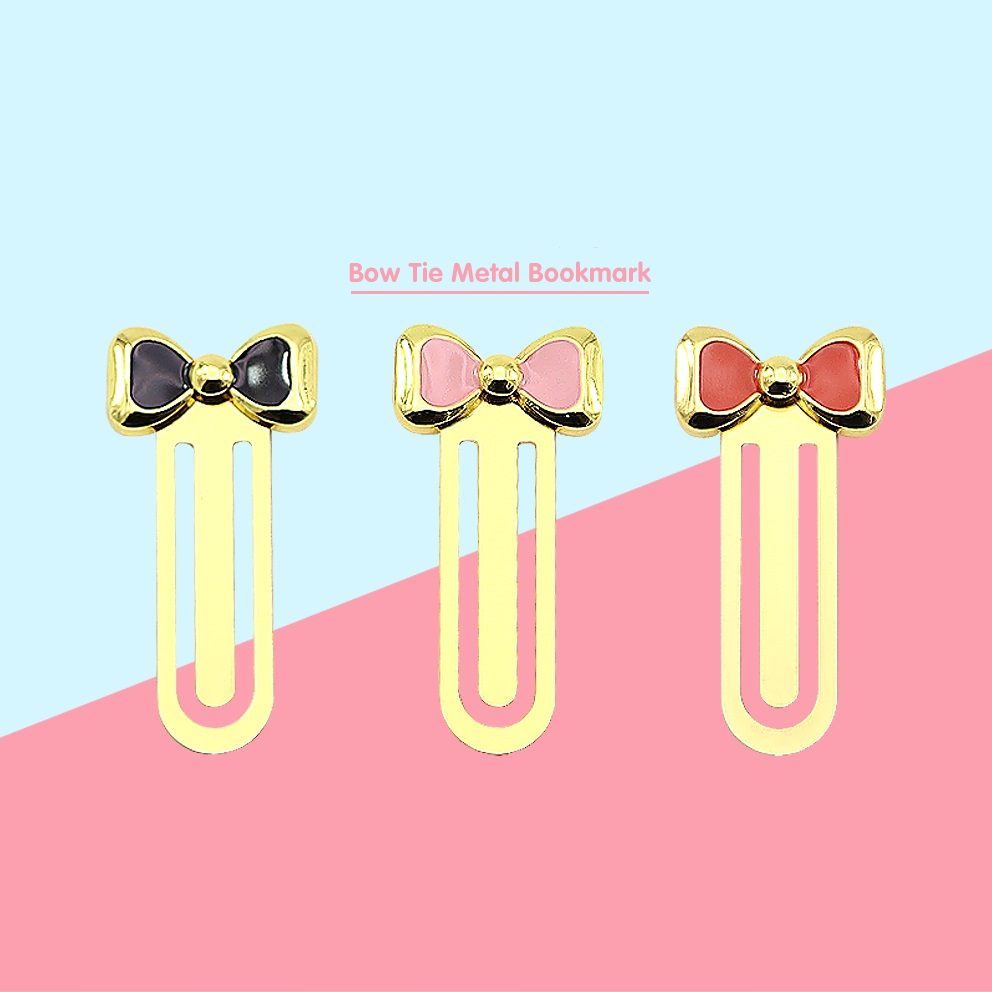 3pcs Bowknot Metal Bookmark For Book Accessories Pink Black Red Gold Color Bow Tie Page Clips Book Marker Office School F604