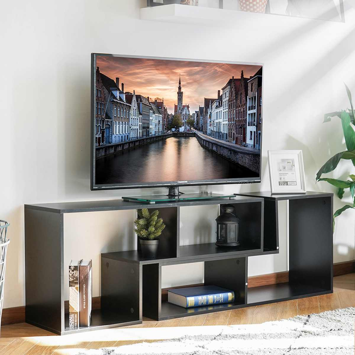Portable Detachable TV Stand Cabinet Console For Living Room White Wood Black Table TV Cabinet US Shipping