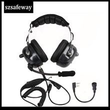 Aviation Walkie Talkie Headset Noise Cancelling Heaphone For Kenwood Baofeng UV 5R 2 Pins Two Way Radio