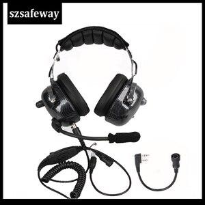 Image 1 - תעופה ווקי טוקי אוזניות רעש ביטול Heaphone עבור Kenwood Baofeng UV 5R 2 סיכות שתי דרך רדיו