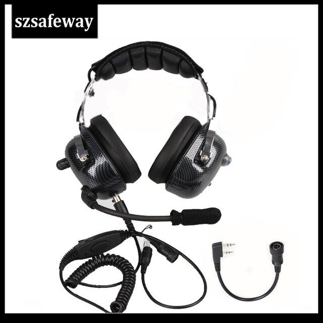 Авиационная рация, гарнитура, шумоподавление, Heaphone для Kenwood Baofeng UV 5R 2 контакта, двусторонняя радиосвязь