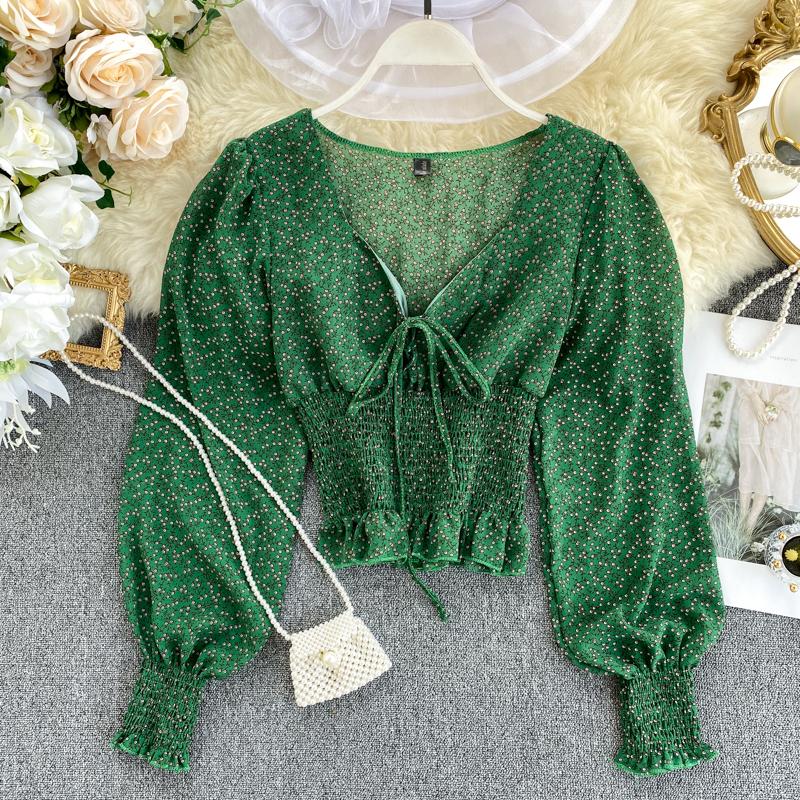 Women's Vintage Floral Chiffon Shirt V Neck Design Print Lantern Sleeves To Shrink Waist Spring Autumn Blouse Short Top ML640