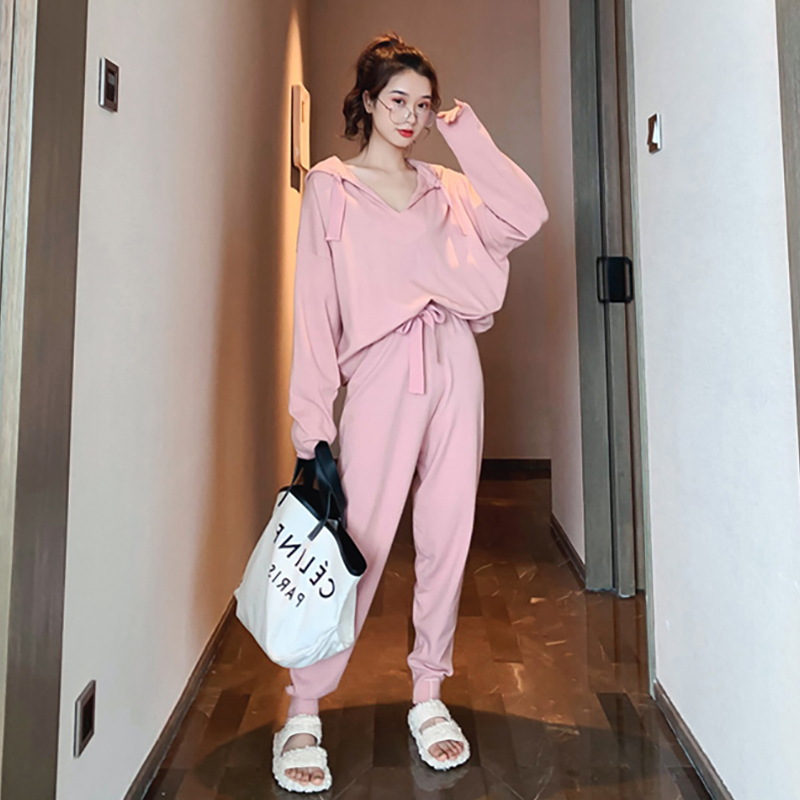 2019 Spring Autumn Brand New Fashion 2 Piece Set Women Sporting Suits Knit Hooded Pullover Pants Female Tracksuit Casual Outwer