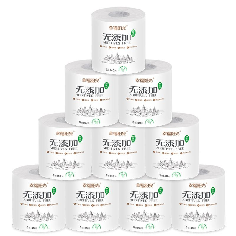 1 Roll Additives-Free White Toilet Paper Smooth Wood Pulp 3-Layers Bath Tissues