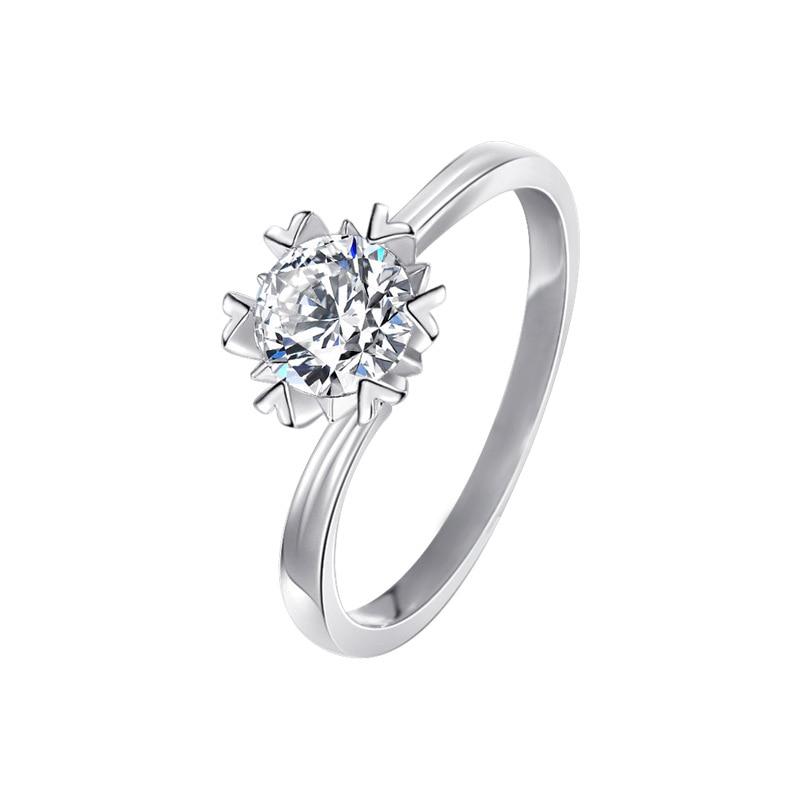 VS2 1 Carat Diamond Ring for Women Silver Color 925 Jewelry Bizuteria Topaz Gemstone Wedding Jewelry 925 White Diamond Ring Box