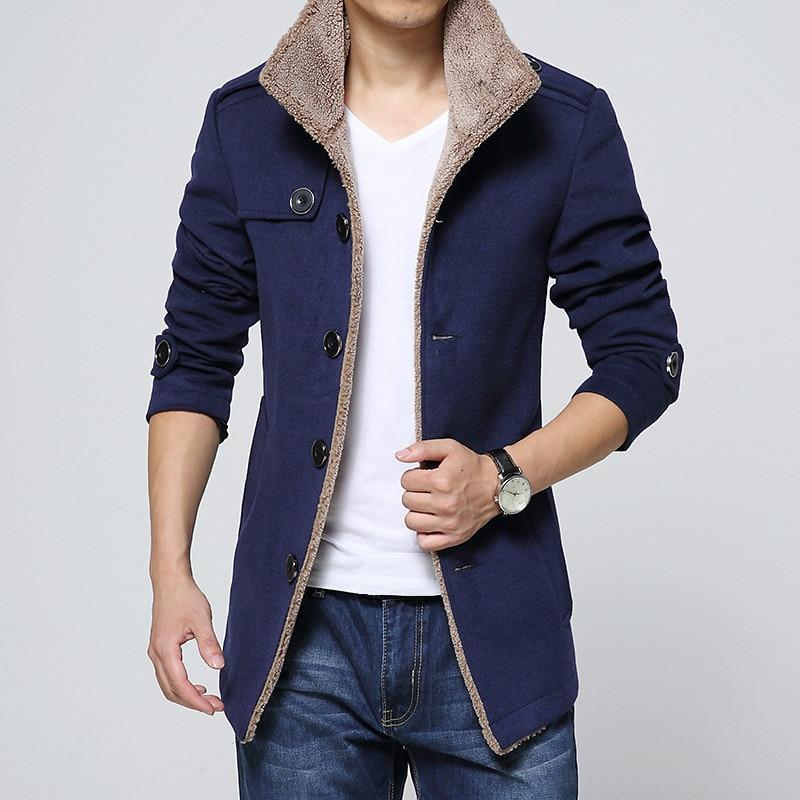 Man Long Sleeve Thick Overcoat Slim Plus Size Mens Winter Blue Coat Windbreaker Male Outerwear Boys Woolen Blend Coat 4xl 3xl