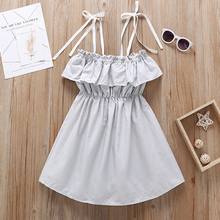 купить Toddler Kids Baby Girls Dress Summer Sleeveless Ruffle Shoulder Strap Strap Tutu Dress Sundress Clothes Princess Dress 1-5 Year по цене 520.4 рублей