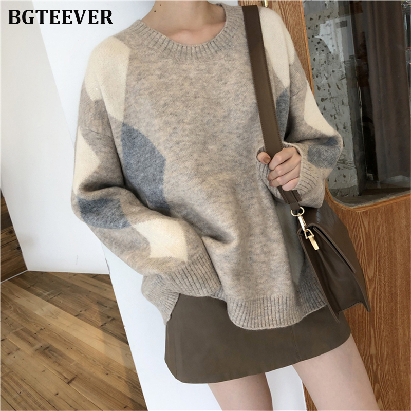 Autumn Winter Women Sweater Plaid O-Neck Warm Minimalist Knitting Pullovers Elegant Ladies Female Loose Knitted Tops Jumpers