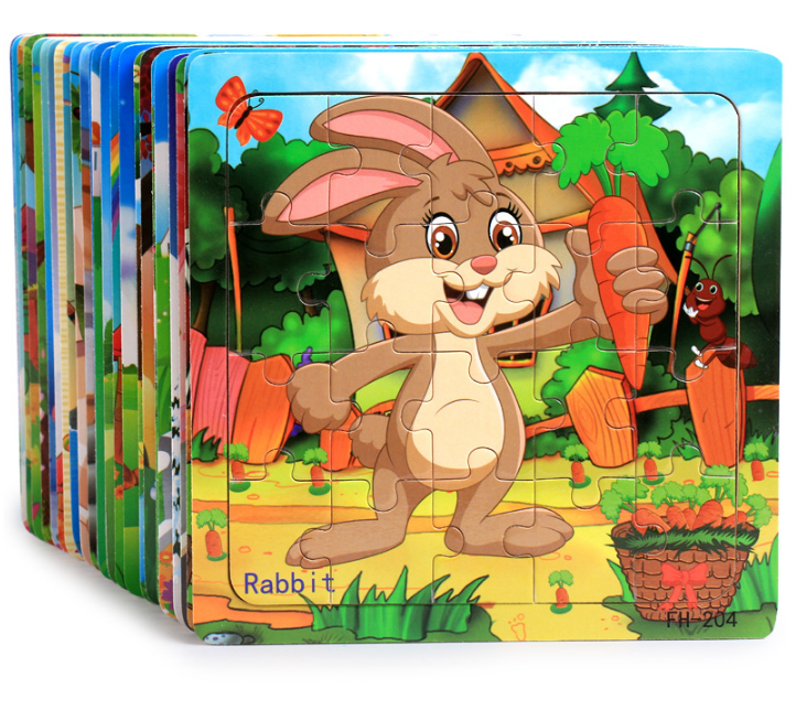 Wooden Jigsaw Toys For Kids Education And Learning Puzzles Toys Animals Cartoon Animal Baby Puzzle