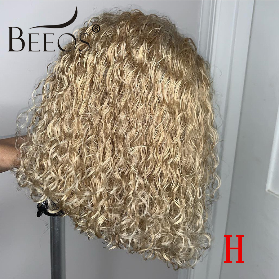 Beeos Blonde Curly 13*4 Side Parting Lace Front Wig 613 Transparent Lace Colorful Short Bob Remy Human Hair Wigs Brazilian
