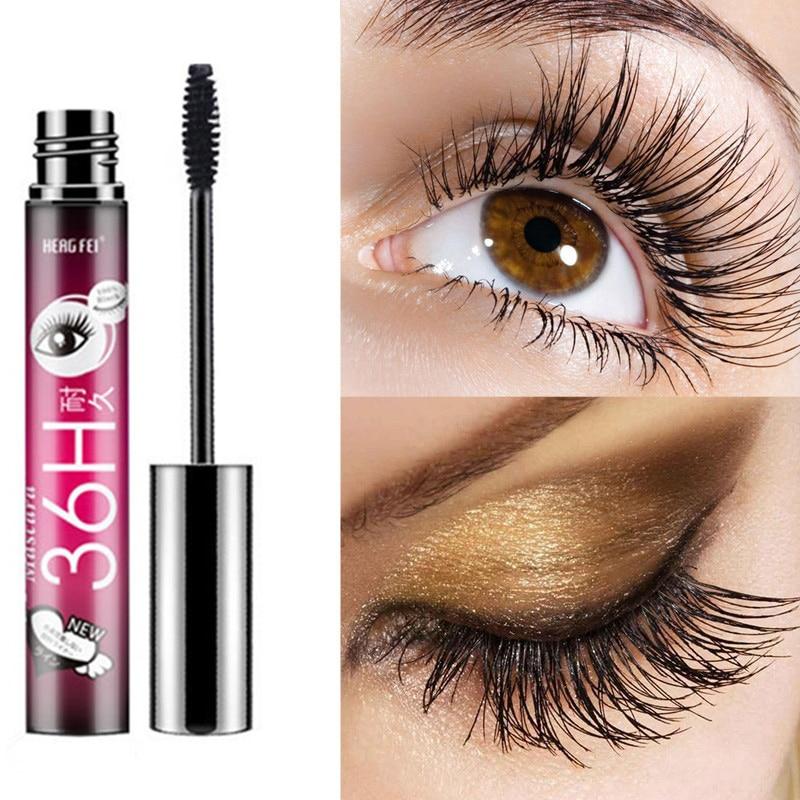 Mascara Black 9HSmudge-proof Waterproof Fiber  Eye Curling Eyelash Double Brush Grew Thick Curly Slim