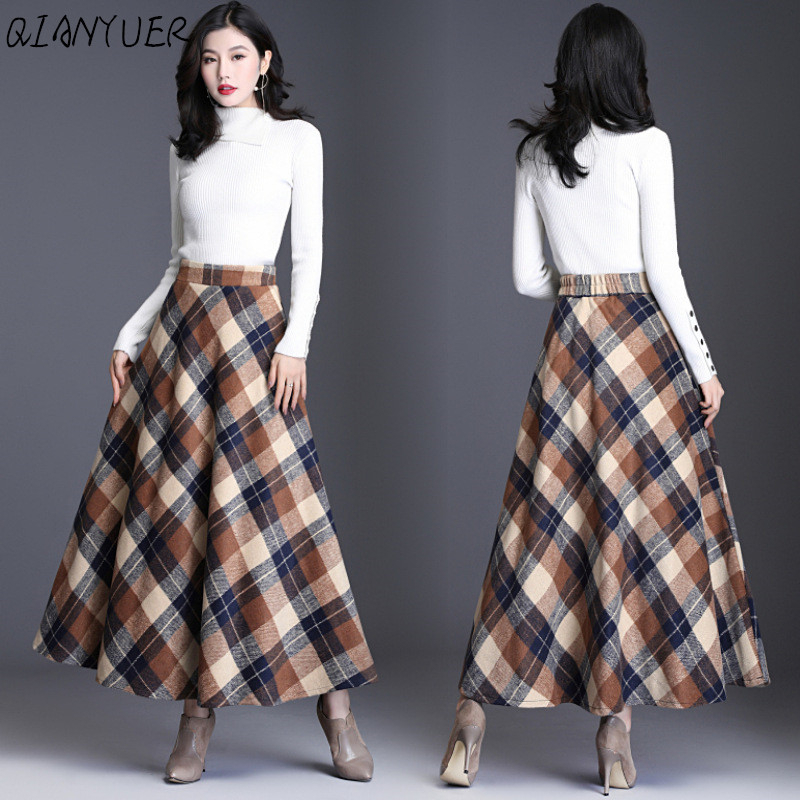 New Spring Autumn Elegant Plaid Women's Elastic Waist Long Wool Skirt With Lining Fashion Pockets Female Skirt Casual Wool Skirt