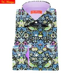 Custom Tailor Made Mannen S Bespoke Jurk Shirts Business Casual Bruiloft Blouse Groene Vogel Bloemen Katoen Liberty Mode David