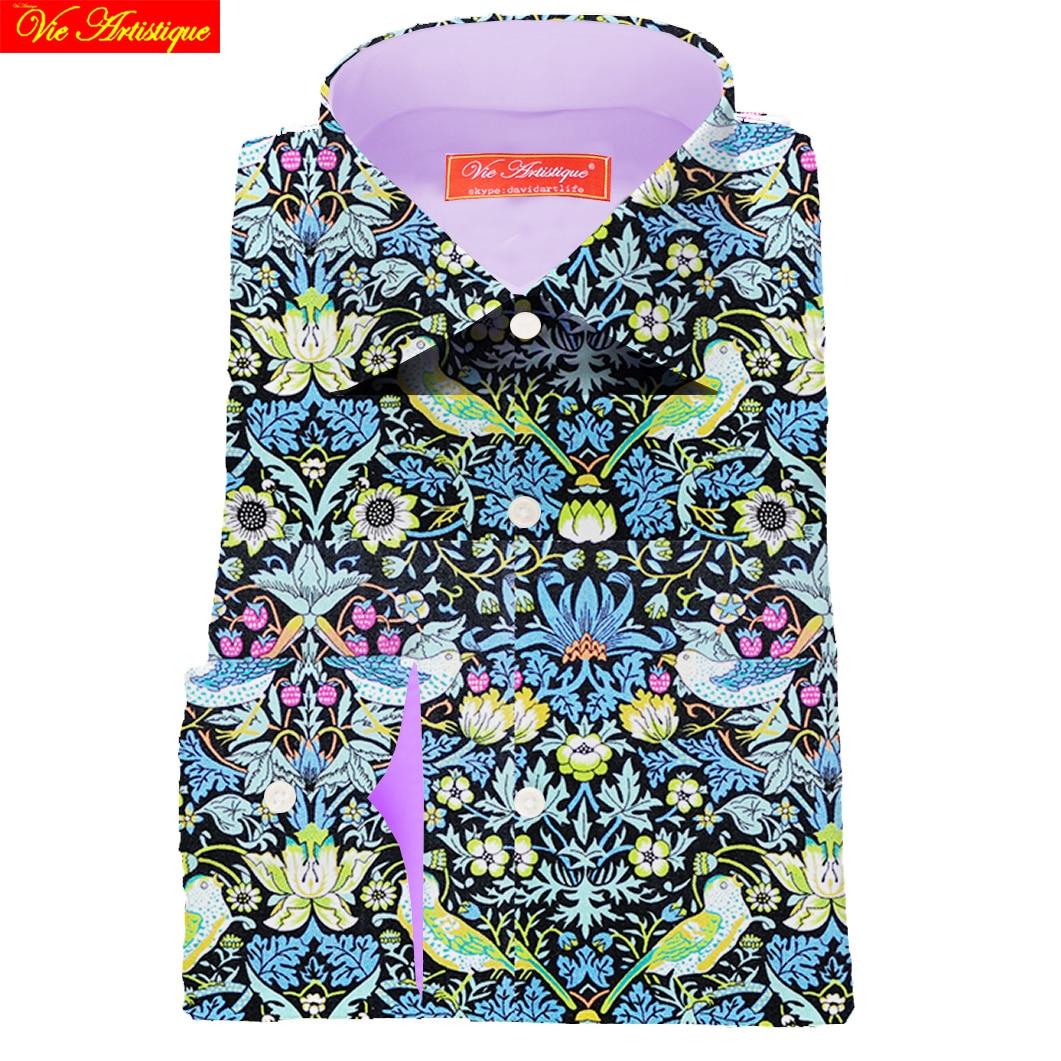 Custom Tailor Made Men S Bespoke Dress Shirts Business Casual Wedding Blouse Green Bird Floral Cotton LIBERTY FASHION DAVID