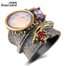 DreamCarnival 1989 New Arrival Binding Look Wedding Ring for Women Black Gold Color with Pink Purple Zirconia Wholesale WA11749(China)