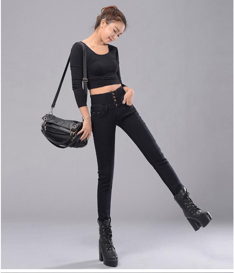 Womens Winter Jeans High Waist Skinny Pants Fleece Lined Elastic Waist Jeggings Casual Plus Size Jeans For Women Warm Jeans 26
