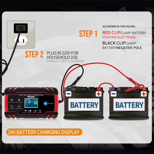 Car battery charger 12v 24v fully automatic Battery chargers Digital LCD Display Power Puls Repair Chargers Wet Dry Lead Acid