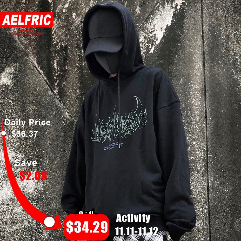AELFRIC Bat Printed Hooded Sweatshirt Mens 2019 Harajuku Streetwear Hoodies Fashion Hip Hop Casual Cotton Male Pullover Outwear