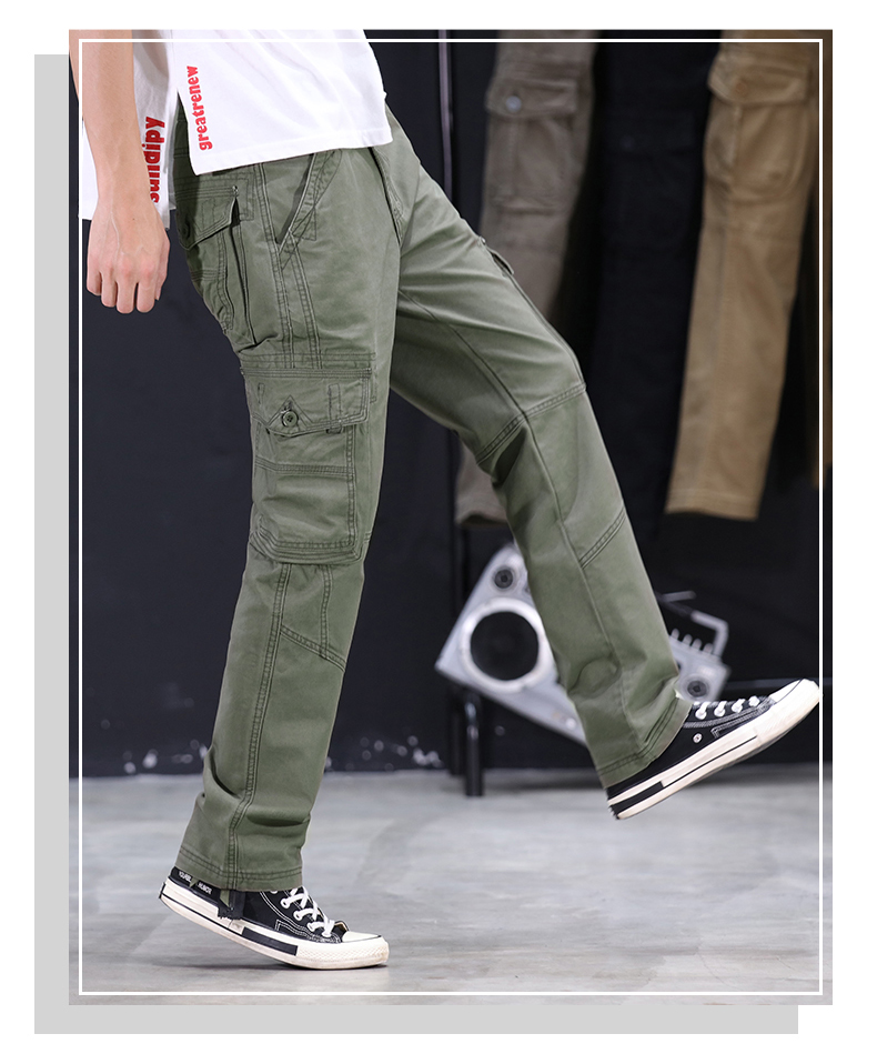 KSTUN Mens Military Cargo Pants Men Overalls Army Green Gray Cotton Men Loose Multi-Pockets Straight fit Men's Casual Trousers Homme 13