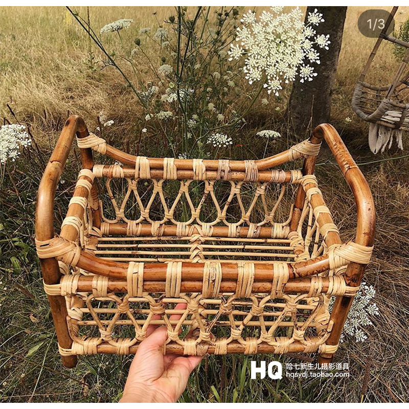 Vintage Newborn Photography Basket Photo Shooting Basket Children Baby Full Moon Photography Woven Baskets Hot