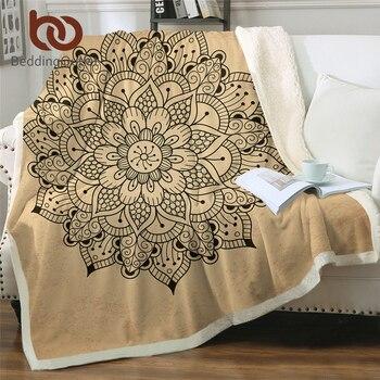 BeddingOutlet Floral Mandala Bed Blanket Beautiful Flower Blanket Bohemian Throw Blanket Brown Cobertor Elegant Bedding 150x200
