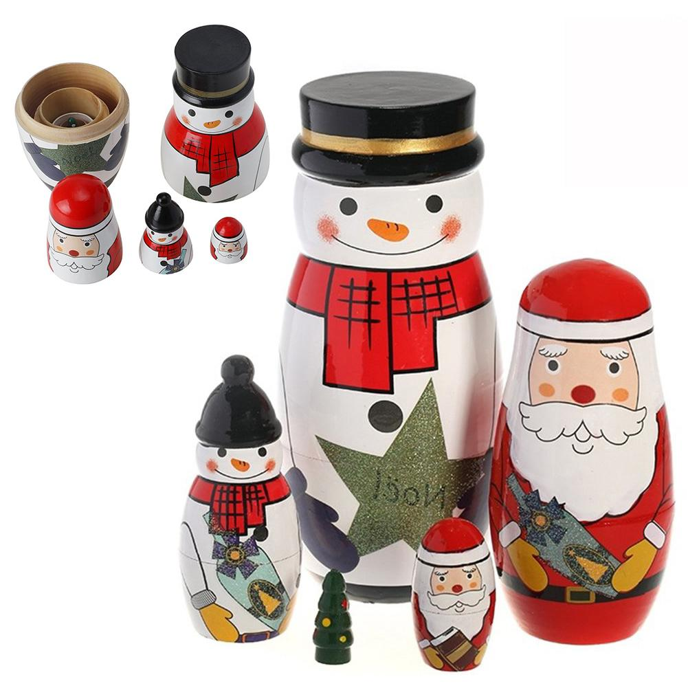 6Pcs Nesting Dolls Russian Matryoshka Santa Claus Hand Painted Xmas Gifts